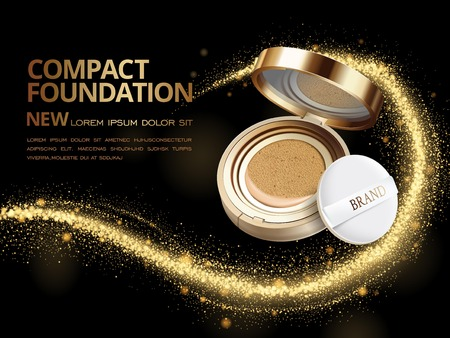 sequins: Attractive compact foundation ads, 3d illustration foundation product with glittering sequins or dust in the air