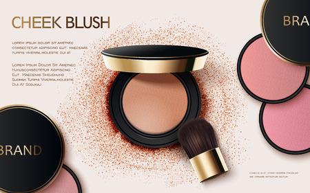 Cheek Blush Anzeigen, 3D-Darstellung kosmetische Anzeigen Design mit Pulver kompakt und Pinsel Vektorgrafik