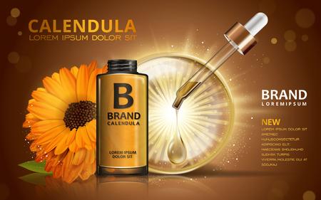 calendula: Calendula skin toner ads, 3d illustration cosmetic ads design with sparkling liquid and flower