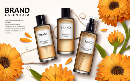 Calendula skin toner ads, 3d illustration cosmetic ads design with top view of products