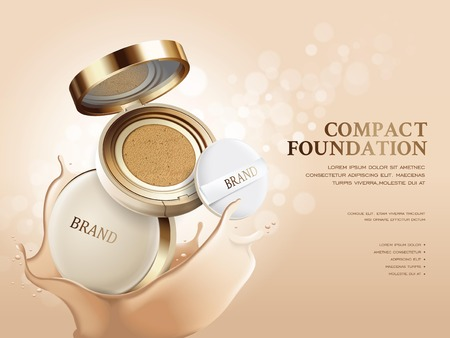 Elegant compact foundation ads, 3d illustration foundation product with its texture splash on the background