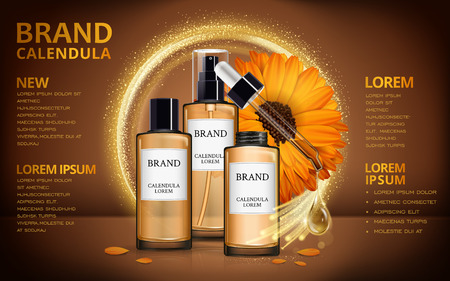 calendula: Calendula skin toner ads, 3d illustration cosmetic ads design with realistic design and sparkling effects