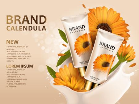 カレンデュラ ハンド クリーム広告、プロダクト テンプレートと花 3 d イラスト化粧品の広告デザイン  イラスト・ベクター素材