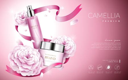 クリーム ボトルとリボン、3 d イラストレーションでエレガントなピンク椿椿化粧品の広告