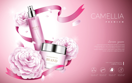 Camellia cosmetic ads, elegant pink camellia with cream bottle and ribbons, 3d illustration Ilustracja