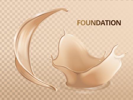 Elegant foundation effects, soft liquid foundation texture in 3d illustration