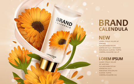 calendula: Calendula hand cream ads, 3d illustration cosmetic ads design with product template and flowers