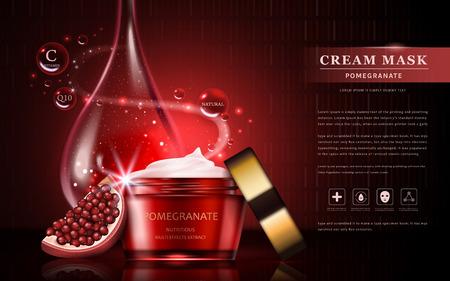 annunci crema melograno, attraente ingredienti di frutta con il pacchetto di cosmetici ed essenziale goccia di olio, illustrazione 3d