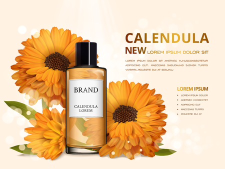 Calendula skin toner ads, 3d illustration cosmetic ads design with realistic flower