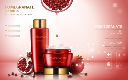 Pomegranate cream ads, attractive fruit ingredients with cosmetic package and sparkling effects, 3d illustration Ilustrace