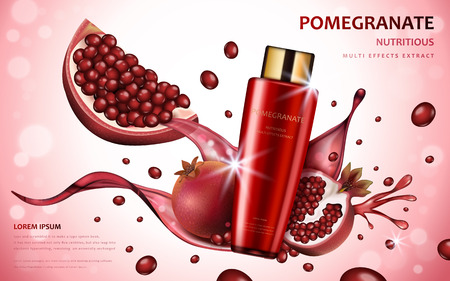 Pomegranate cream ads, attractive fruit ingredients with cosmetic package and splash effects, 3d illustration 일러스트