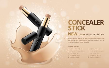 Concealer stok advertenties, 3D-afbeelding foundation product met vloeibare foundation textuur spatten in de lucht