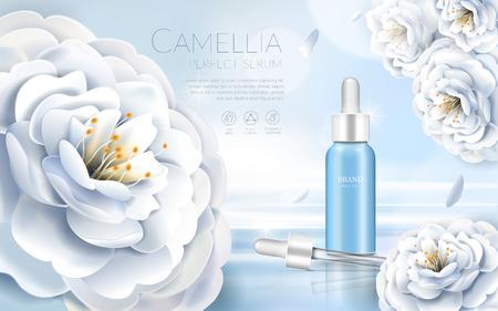 Camellia cosmetische advertenties, elegante witte Camellia met druppel fles, 3d illustratie Vector Illustratie