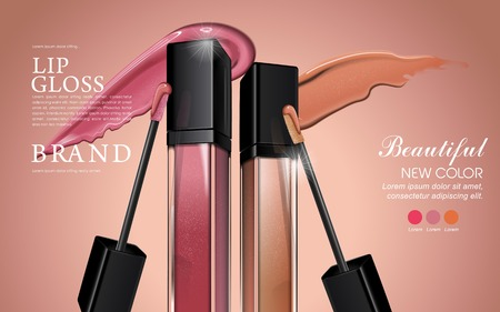 Attractive lip gloss ads, sticky and glossy liquid texture with transparent glass container in 3d illustration Vectores