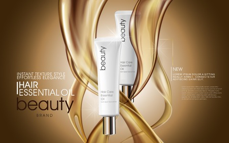 Premium hair oil ads, cosmetic tubes with oil pouring down, 3d illustration for ads or magazine