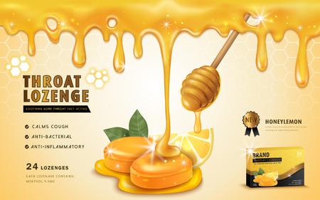 Honey lemon throat lozenge, ads template and package design for sore throat. Honey dripping from top. 3D illustration.