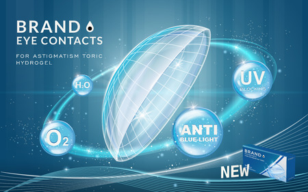 Eye contacts ads template, contact lenses with sparkling ring effects and advantages on blue bubbles. Product ads and package design in 3d illustration.