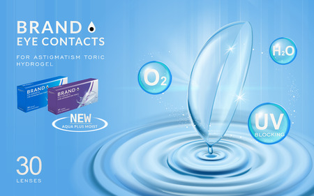 moisturizing: Eye contacts ads template, contact lenses with water ripples and effects on blue bubbles. Product ads and package design in 3d illustration.