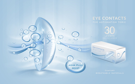 Eye contacts ads template, aqua plus contact lenses with water and air bubbles. Product ads and package design in 3d illustration.