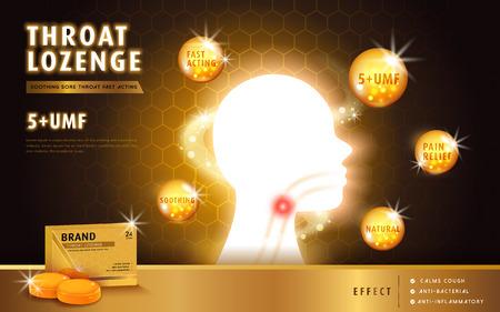 蜂蜜のど飴、広告テンプレートとパッケージ デザイン喉の痛み。影響を受ける領域と効果ノート広告.3 D イラスト。