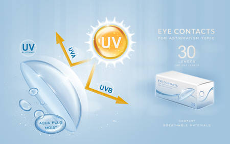blocking: Eye contacts ads template, UV blocking contact lenses. Product ads and package design in 3d illustration. Illustration