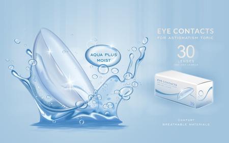 アイ ・ コンタクトの広告テンプレート、アクア プラス水の飛散とコンタクト レンズ。商品広告、3 d イラストのパッケージ デザイン。