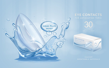 Eye contacts ads template, aqua plus contact lenses with water splashes. Product ads and package design in 3d illustration.