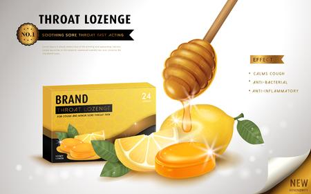 Il miele di limone gola losanga, annunci modello e il pacchetto di progettazione per il mal di gola. illustrazione 3D. Vettoriali