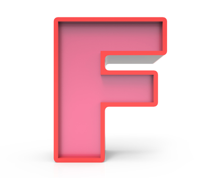 building block: 3d rendering red building block letter F isolated white background, toylike alphabet for design
