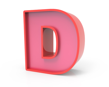 right leaning 3d rendering red building block letter D isolated white background, toylike alphabet for design