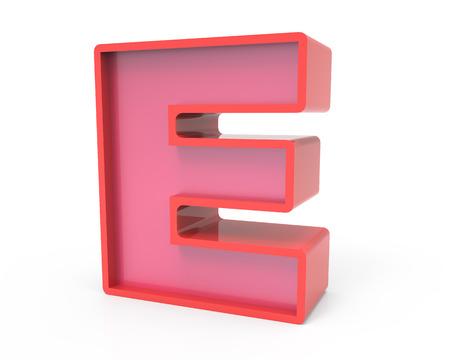 e white: right leaning 3d rendering red building block letter E isolated white background, toylike alphabet for design Stock Photo