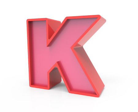 right leaning 3d rendering red building block letter k isolated white background toylike alphabet for