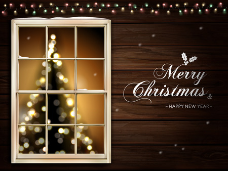 merry christmas calligraphy on cabin wall, with a lighted christmas tree inside the window