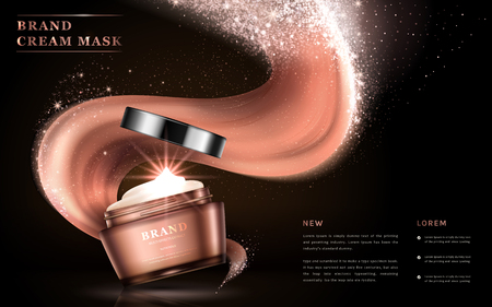 Cream mask ads, glossy packaging with texture flowing on the dark background, glitter particles. 3D illustration.