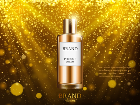 perfume contained in a golden bottle, with flittering powder background, 3d illustration Illustration