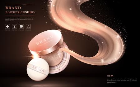 Atractivos anuncios de cojín en polvo, bellos productos con partículas de brillo decoraciones y bases vuelan hacia fuera a partir del polvo. Ilustración 3D. Foto de archivo - 68356552