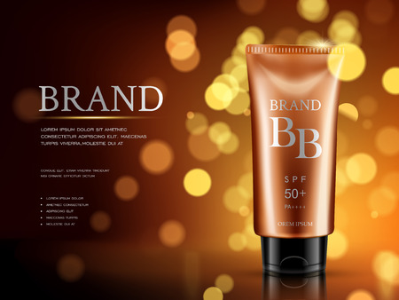 balm: protective sunscreen delicate advertisement, with warm blurred background in 3d illustration Illustration