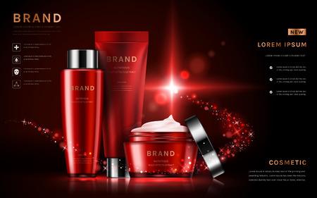 魅力的な化粧品の広告を設定、3 D イラスト、キラキラ粒子要素の赤いパッケージのスキンケアを設定します  イラスト・ベクター素材