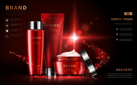 Attractive cosmetic set ads, red packaging skincare sets in 3D illustration, glitter particles elements