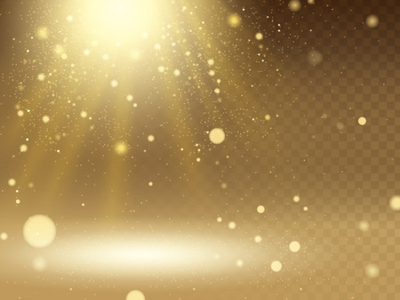 penetrate: Abstract glittering golden light with small lighted dots, transparent background in 3d illustration Illustration