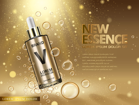essence contained in golden droplet bottle with bubble elements golden background, 3d illustration