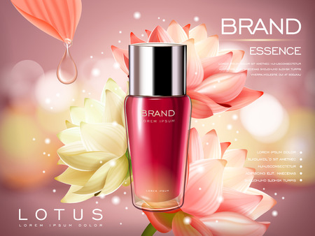 contained: lotus essence concentrate product contained in a pink droplet bottle, with flower element and pink background in 3d illustration
