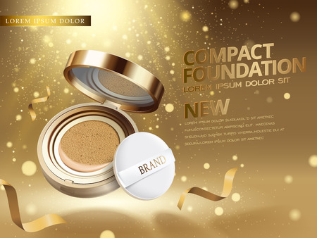 art product: 3d illustration foundation product ad with glittering golden dusts fills the air