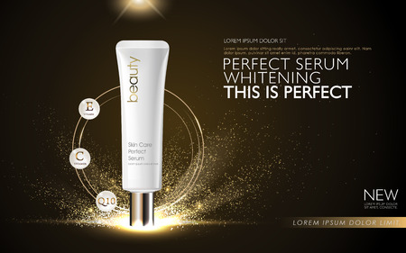 Perfect serum ads, white tube packaging isolated on dark background with sparkling elements, 3D illustration