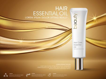 Gouden haar olie advertenties, witte buis verpakkingen die op stromende olie, 3D illustratie