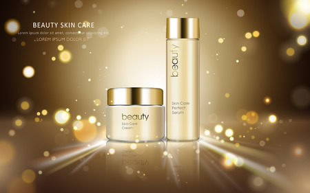 Skin care cosmetic ads, glossy bottle packaging for design with sparkling and bokeh background, 3D illustration 向量圖像