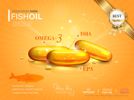 omega3: Fish oil ads template, omega-3 softgel isolated on chrome yellow background. 3D illustration.
