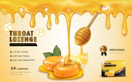 Miel citron gorge losanges, annonces modèle et package design pour un mal de gorge. Le miel dégoulinant de haut. illustration 3D. Vecteurs