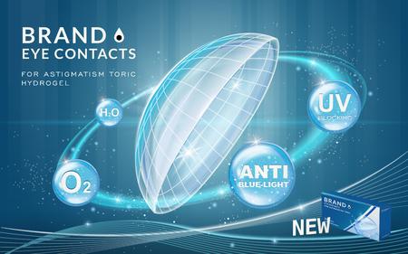 アイ ・ コンタクトの広告テンプレート、輝くリング効果と青い泡の利点のコンタクト レンズ。商品広告、3 d イラストのパッケージ デザイン。