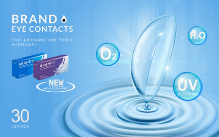 Eye contacts ads template, contact lenses with water ripples and effects on blue bubbles. Product ads and package design in 3d illustration.